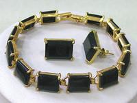 Free shipping Fashion bohemian jewelry sets Gold plated Black Agate Earrings  Bracelets