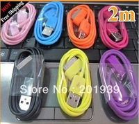 colors 2M Meters USB Data Sync Charger Cable For Apple iPhone 4 4S 3GS iPad iPod Touch DHL Free shipping 200PCS/LOT