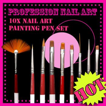 New 10 pcs/set high quality For nail art design painting pen brush tool EL124 free shipping