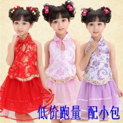 Children's clothing Apparel tang suit dance costume apron tulle dress in red, pink, purple 3 colors(China (Mainland))