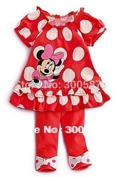 Retail 2015 Cartoon Minnie children clothing set 2 pcs sets girl's dot dress tops shirts + pants whole suits outfits