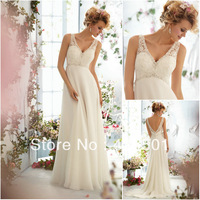 Custom Made Size A Line V Neckline Empire Beaded Chiffon Fashion Popular Wedding/Bridal Dresses 2013