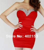 Fashion Party Short Sexy Strapless Beaded Woman Mini Bubble Dress Holiday 6 colors Wholesale, Free Shipping