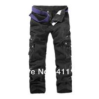 Men's Cotton Work Wear Black Cargo Jeans Military Army Pants Size 28-38