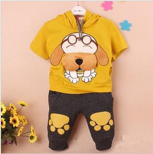 4sets/lot Summer 2013 Clothing Sets Lovely Cartoon Dog Design Kids Short Sleeve Hoodies+Pant Baby Boy and Girls'  Garment