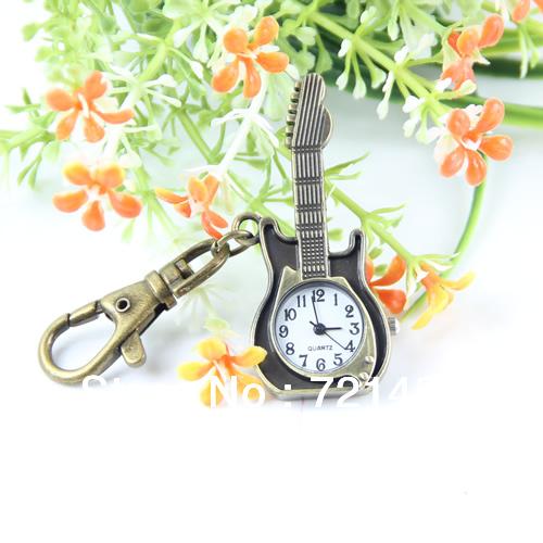 J35 Free Shipping Unique Retro Bronze Guitar Design Pocket Quartz Pendant Key Chain Keyring Watch(China (Mainland))