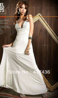 New Arrival White Sheath Prom Dresses V Neck Beading Rhinestone Pleat Floor Length Evening Party Gown Prom Ball Formal Dress