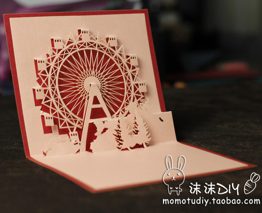 Diy paper art handmade three-dimensional commercial new year greeting card(China (Mainland))