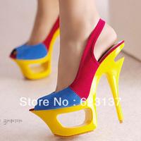 free shipping fashion women high heels shoes open toe platform sandals