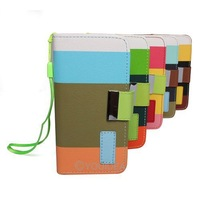 1pc New Hybrid Leather Wallet Flip Pouch Stand Case Cover For iphone 5 5G 5th + Protector Film 5 colors for choose