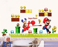 [funlife]-New Running Super Mario Bros Kids Room Nursery Art Decal Mural Wall Sticker Deco for Children Room