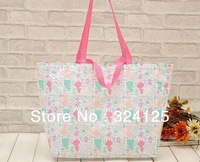Free shipping Factory direct 100pcs/lots pink alice in wonderland waterproof thickening shopping bag Hotel Wedding gift Bag