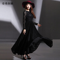 2014 Free Shipping Hot A-line Evening Dress Long Sleeve boat neck lace flowers sequin sexy long party prom pageant Bohemia gown