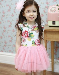 Hot-selling 2013 female children flower long puffskirt Girls flora vintage tulle dress little girl summer clothes(China (Mainland))