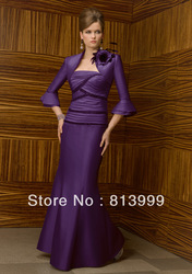 Unique deign sexy mother wear long mermaid satin strapless pleats sequins mother of the bride dress dillards---CP040(China (Mainland))