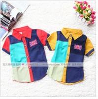 Free shipping 2013 new fashion children kids summer clothing polka dot short sleeves turn-down collar boys shirts 4 pcs/ lot