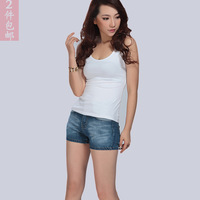 Summer all-match the temptation sexy women's popular 100% cotton racerback top white vest slim plus size basic shirt