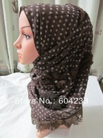 tc253,2013 fashion newest design lace islamic muslim scarf for lady,200*55cm assorted colors with wholesale free shipping