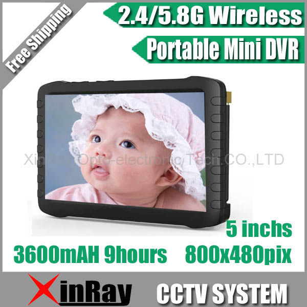 Latest 5-inch HD Portable 2.4G/5.8G Wireless Mini DVR XR-TE968H ,Wireless & Wired Camera,Video Receiver,Motion Detect Recording(China (Mainland))
