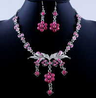 Luxury Crystal Elegant Bridal  Necklace Earrings Alloy Acrylic Fashion Jewelry Sets Wedding Party Prom