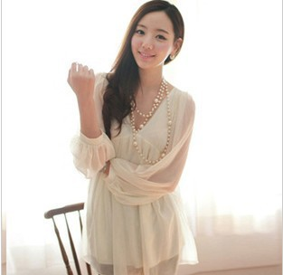 In stock sexy woman v neck dress ,comforable summer long sleeve chiffion t shirt girls blouse(China (Mainland))