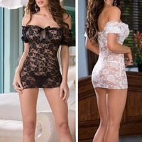 New Women Sexy Lingerie Nightgown Sheer Mini Dress Babydoll Lace Off Shoulder Underwear Sleepwear Black White