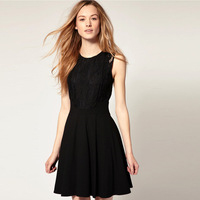 S~XL Free Shipping SCOOP NECK LACE INSERT ZIPPER BACK SKATER DRESS