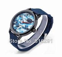 Free shipping, New 2014 Fashion Sports  Mens Quartz  Wrist Watch, Black Case,blue Strap. F1 Royal army Style.