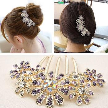 New Korean Hair Jewelry Rhinestone Crystal Flowers Bridal Hair Sticks Girls Hairwear