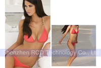 2013 New Sexy Golden chain Lady Women's Swimsuit Swimwear Halter Padded bra Pink Bikini Free Shipping