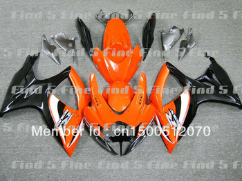 gloss black orange white for SUZUKI GSXR600 GSXR750 06 07 GSX-R600 GSX-R750 06-07 GSXR 600 750 2006 2007 2006-2007 fairing kit