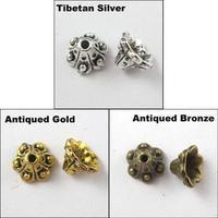 YBB 9mm Antiqued Silver Gold Bronze Tone Flower Dot End Bead Caps P812