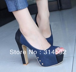 2013 Top Style Platform Assorted Color Pumps Chunky Heel Peep Toe Party Shoes(China (Mainland))