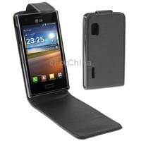 FreeShipping! Business Style Vertical Flip Holster Leather Case for LG Optimus L5, Black