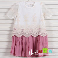 Children's clothing 2013 summer child short-sleeve baby one-piece female child skirt blinds pleated skirt