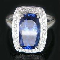 Solid 18k White Gold 3.93Ct Full Cut VS1 Diamond AAAA Tanzanite Wedding Ring