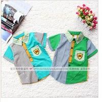 Free shipping 4 pcs/ lot 2013 new fashion summer children kids clothing striped letter short sleeves boys shirts