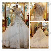 2013 Limited v-neck Swarovski Crystal Luxury Royal New Design Sparkling Sexy Wedding Dress bride Long Train Wedding Gowns