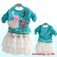 girls swan dresses childrens lovely swan tutu dresses baby girls long sleeve dresses set wholesale 3pcs/lot free shipping