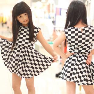 2014 New Arrival, GIrls Sleeveless Check Summer Dress, Kids clothing,  Girls Beach Dress,TQL056