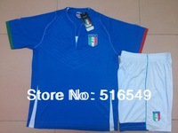 2013 2014 TOP quality boy child youth Italy  blue home soccer jersey football sport uniforms Shirt &short Balotelli 9 jersey