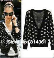 201 New Arrival Cotton Brand Women's Cardigan Sweater Cute Heart Cardigan Free Shipping