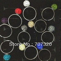 2013 wholesale  15 pcs  cheap adjust size rhinestone crystal beads shamballa rings with free shipping