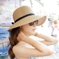 Summer sunscreen strawhat sunbonnet outdoor women's big beach cap