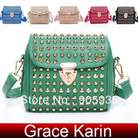 Free Shipping Grace Karin Stylish Women Girl Polyurethane Leather + Studs Shoulder Bag Messenger bag GZ98