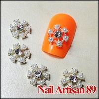 3D Rhinestone Snowflake Shape Nail Art Decorations Pearl Metal Acrylic Nail Tips Free Shipping 100pcs/lot Size:10mm #B217