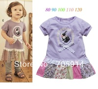 5pcs/lot color purple lovely rabbit patchwork dress baby dress  girl clothing baby wear 130508r free shipping