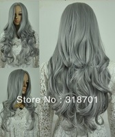 Free shipping Long Wavy Gray Anime Wig cosplay wig About 25inch hot sale
