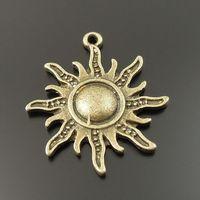 Free Shipping Vintage Style Antiqued Bronze Tone Alloy Sun Symbol Charms Pendants 25mm 20PCS 33320