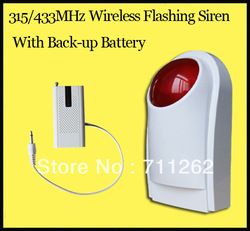 Free shipping!433/315MHz Wireless Flashing siren sensor Alarm working for GSM wireless home security alarm system+backup battery(China (Mainland))